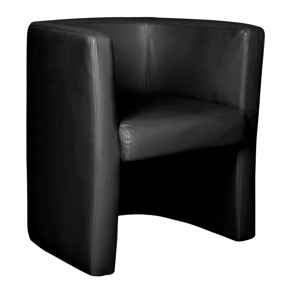 Milano Single Tub Chair Fully Upholstered in Black Leather Effect